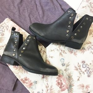 Musse & Cloud Leather Ankle Boots   Grey   Size 7
